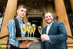 Bartender Dovy Das and general manager, Gavin Carroll toast the return of the second annual Festival of Prosecco to Belfast's five-star Merchant Hotel. Running throughout September, customers can enjoy an array of Prosecco-themed delights.  Picture by Elaine Hill.