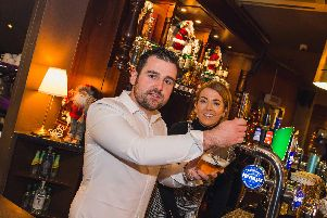 Michael Dunlop with his business partner, Maggie McWilliams, at Shenanigans Venue in Portstewart. Picture: Matt Steele.