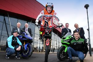 Ulster trials champion Andrew Perry helped launch the Black Horse Northern Ireland Motorcycle Festival at the Eikon Exhibition centre. Looking on are race stars Alastair Seeley and Eunan McGlinchey, show promoter Billy Nutt,  Mayor Uel Mackin and Alderman Allan Ewart of Lisburn and Castlereagh Council, and Alan Crowe of the Royal Ulster Agricultural Society.