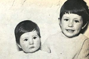 Nine month old Tracey with her six year old sister Lorraine, daughters of Mr and Mrs Robert Hanna, pictured in 1970.