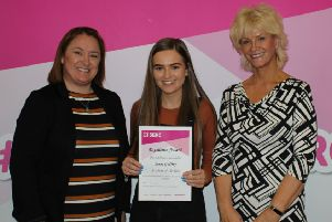 Jenna Godfrey, Level 3 Extended Diploma in Children's Care, Learning and Development with Karen Fraser, SERC Board of Governors and Guest Speaker Monica McCard