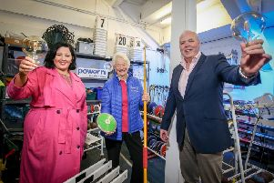 Launching the Power NI  initiative are Lady Mary Peters (centre) with Gemma-Louise Bond and Stephen McCully from Power NI.