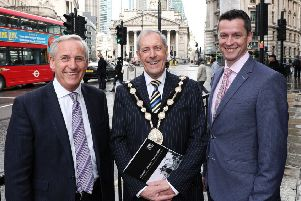Press Eye - Belfast - Northern Ireland - 3rd April 2019 -  ''�250 million to 'Connect, Invest, Transform' Lisburn Castlereagh'' 'Connect, Invest, Transform' - that's the message a Lisburn Castlereagh delegation is bringing to the UK market through the launch of a �250 million investment plan proposition led by the Mayor, Councillor Uel Mackin.   ''It was officially launched by the Mayor at the council's annual investment & business networking event in the Mansion House, London to an audience of over 200 businesses, investors, developers and key influencers.''Pictured at the Mansion House, l-r,  Andrew Robinson, Chairman of Lisburn Enterprise Organisation, Councillor Uel Mackin, Mayor of Lisburn & Castlereagh City Council and David Burns, Chief Executive of Lisburn & Castlereagh City Council.''Photo by Kelvin Boyes / Press Eye