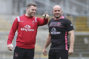 Darren Cave and Rory Best during training this week ahead of Ulster v Connacht. Both will play in their last home games on Saturday for the province