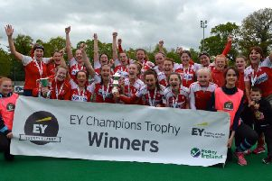 Pegasus celebrate their Champions Trophy victory. PICTURE: Billy Pollock