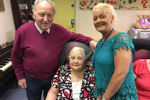 Anna House Day Centre manager Gillian Thompson (right) with service users Anne Gowdy, 85, and Tommy Larmour, 75