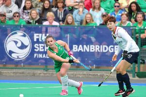 Ireland's Lizzie Colvin on the attack against Korea