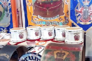 Some of the drums and banners on show in the exhibition