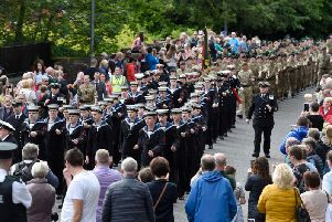 Stepping out along the route during Armed Forces Day in Lisburn.  Photo: McAuley Multimedia.