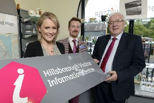 Pictured at the new look Hillsborough Visitor Centre are Head of Hillsborough Castle, Laura McCorry; Business Development  & Visitor Experience Executive, Alan Greer and Chairman of the council's Development Committee, Alderman Allan Ewart, MBE.