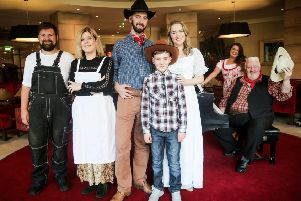 Oklahoma! cast members Kyle Emerson, Angela McCrudden, Ryan McElhone, Dylan Nugent-Barnes, Catherine McCormick, Drew Reid, Megan Mooney are pictured at the launch of the musical extravaganza which will take to the stage at The MAC this summer.'' ''Running from Wednesday 7th until Saturday 10th August, the production from Flax Trust Arts, in association with the Ardoyne and Marrowbone Community Festival, has been created from the heart of the North Belfast Community who have taken part to help build confidence, self-esteem and mental wellbeing.'' ''Tickets for this toe-tapping production are priced �5 and �10 and to book go to www.themaclive.com