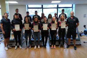 Students from SERC Level 3 Diploma in Sport who were presented with Europass, Attendance Certificates and Coerver Coaching Certificates in recognition of their 10-day work experience in Malta. Back Row l-r: Dylan Hamilton, Philip Doran, Caolan Conlon, Ellie McDonald, Alex Boyd, Jamie Hewitt and Liam McDonnell Front Row l-r: Carl Bailie, Conor Curran, Rebecca Sandell, Genna Brown, Niamh Hart, Emma Lutton, Rachel Clarke and Phillip McKelvey