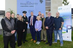 Neighbourhood Watch Coordinators representing new schemes from Maghaberry, Stoneyford and Lisburn with Superintendent David Beck, PSNI and Councillor Andrew Ewing, Chairman of Lisburn & Castlereagh City Council PCSP