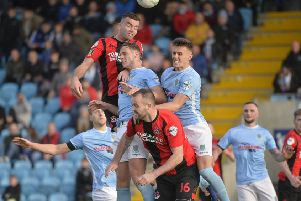 Action from the Danske Bank Premiership draw between Ballymena United and Crusaders. Pic by INPHO.