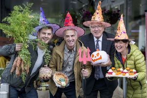 Pictured at the launch of the first Halloween Harvest Market is Paul Hamilton, Cherry Valley Farm, Stuart Cordner, Cordners Spar, Chairman of the Lisburn & Castlereagh City Council Development Committee, Alderman Allan Ewart MBE and Rosie McNeill, Rosie's Cakes