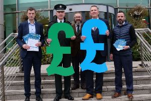 Pictured promoting the new 'Grand Choice' funding scheme for the Killultagh area with Councillor Andrew Ewing, Chairman of the Lisburn & Castlereagh PCSP and Superintendent Beck, PSNI are representatives of the partner organisations: Jason White, SEHSCT; Stephen Semble, NI Housing Executive and Conleth Donnelly, Sport NI.