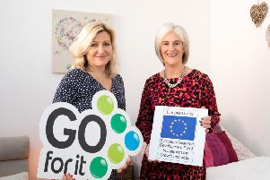 Pictured with Jenny McNally (left) is Patricia McPolin, Business Advisor with Lisburn Enterprise Organisation on behalf of Lisburn & Castlereagh City Council (right) who provided Jenny with expert advice and help with developing a business plan in order to help turn her business idea into a reality.