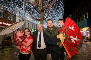 Trea, Ally-Rose, Aaron and Sam Mitchell met up with Alderman Allan Ewart MBE, Chairman of the council's Development Committee to promote the Welcome in the Chinese New Year - Light Festival Finale event on 23rd January 4-7pm.