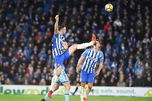 Brighton & Hove Albion defender Shane Duffy in action against Burnley. Picture by PW Sporting Pics