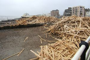 The warning comes almost ten years after 2,000 tons of wood washed up on Worthing Beach. Picture: Sarah Booker