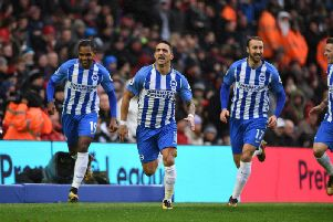 Anthony Knockaert celebrates giving Brighton an early lead. Picture by Phil Westlake (PW Sporting Photography)