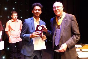 14-15 winner Tazlim Alli, with Gavin Ockley-Brown, president of Bognor Hotham Rotary Club