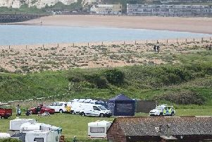 The Seaford campside where the body of a Yapton woman was found on Sunday morning. Pic: Eddie Mitchell and Dan Jessup