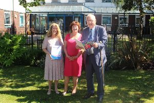 Sir Peter Bottomley with senior trust and foundations officer Ann Barlow and chief executive Suzanne Millard