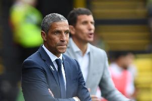 Brighton & Hove Albion manager Chris Hughton watches on at Watford. Picture by PW Sporting Photography