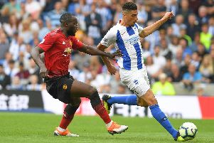 Leon Balogun in action on his Brighton & Hove Albion debut against Manchester United. Picture by PW Sporting Photography