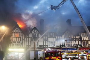 Ten fire engines were called to the blaze in Rectory Road, Worthing, on bank holiday Monday