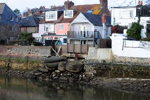 The collapsed river wall in Arundel