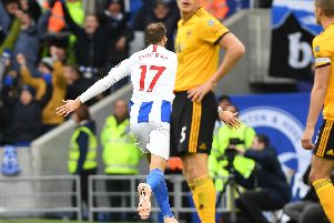 Glenn Murray reels away to celebrate his 100th goal for Brighton & Hove Albion. Pictures by PW Sporting Photography