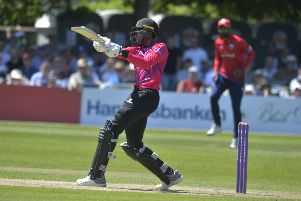 Jofra Archer hits a six for Sussex against Essex at The Saffrons (Photo by Jon Rigby) SUS-180406-100044008