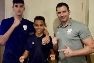 L - R: Daniel Hardinge, Jaidan Wyatt, and club coach Stuart Smith travelled to Bridport in Dorset with both boxers' unbeaten runs on the line. Picture courtesy of Shaun Brown Boxing Academy.