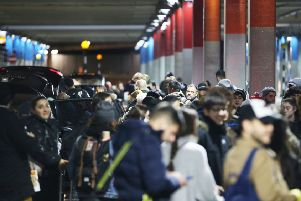 Crowds at Gatwick after the airport was closed because of disruption by drones