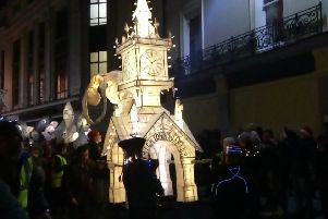 A lantern in the shape of Brighton Aquarium led this year's Burning the Clocks parade