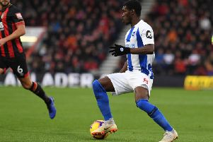 Yves Bissouma on the ball during Albion's Premier League defeat to Bournemouth last month. Picture by PW Sporting Photography