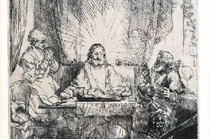 Rembrandt van Rijn - Christ at Emmaus: The Larger Plate, etching with drypoint on laid paper, circa 1654, posthumous fourth state. SUS-190114-104207001