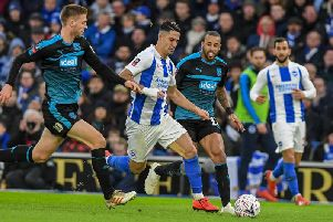 Action from Brighton's 0-0 draw with West Brom in the FA Cup on Saturday. Picture by PW Sporting Photography