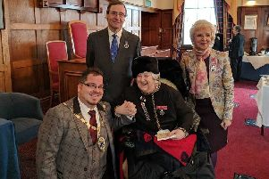 Billy with Vice Lord-Lieutenant of West Sussex Harry Goring, Daphne Snowden BEM and Margaret Bamford