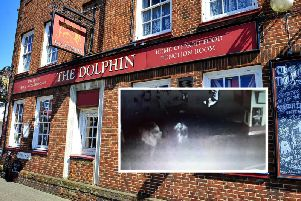 The Dolphin pub in Littlehampton, High Street. Inset: the CCTV footage featuring the alleged ghost