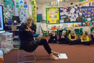 JustDifferent workshop co-ordinator Alison Wright at Upper Beeding Primary School