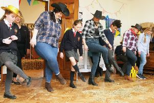 Line-dancing at the American-style hoedown at St Wilfrid's Arundel Priory. Photo by Derek Martin DM1924297a