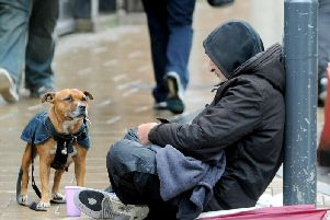 A general shot of a homeless person