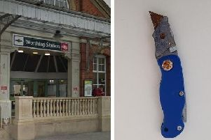 The knife was found by police on patrol near Worthing Railway Station. Pictures: Sussex Police/Google Streetview