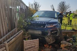 A car collided with a fence in Bognor Regis. Picture: Sussex Roads Police