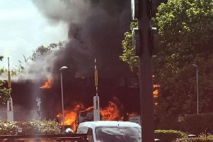 The fire this morning in Fontwell. Picture: Stephen Rosan