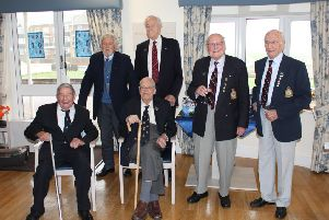 The Bomber Boys at Princess Marina House in February, Flt Lt Jo John Oliver 'Jo' Lancaster, centre seated, with Roy Smith, left seated, back row, Flt Lt Harry Hacker, Wg Cdr John Bell, Flt Lt George Dunn and Flt Lt Hal Gardner