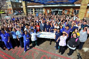 Staff at Western Sussex Hospitals NHS Trust celebrate its 10-year anniversary